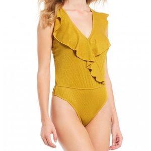 NWOT marigold bodysuit with ruffle